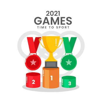 2021 juegos time to sport concepto con podio de tres ganadores sobre fondo blanco símbolo olímpico.