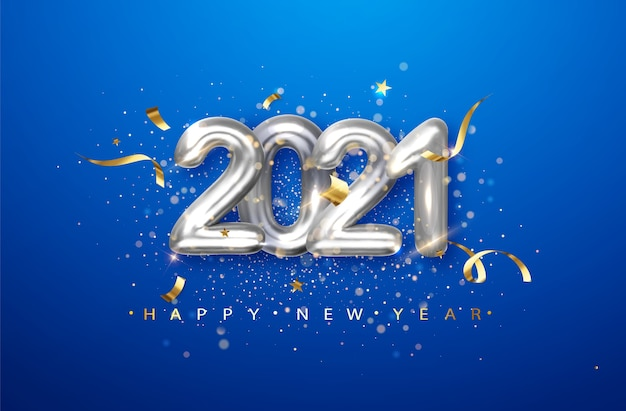 2021 números de metal plateado sobre fondo azul. ilustración de vacaciones con fecha 2021