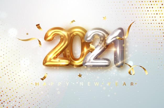2021 números realistas de oro y plata sobre fondo de brillo festivo claro