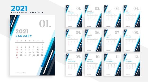 2021 plantilla de diseño de calendario profesional de negocios azul