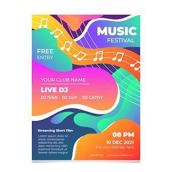2021 plantilla de póster ilustrado del festival de música