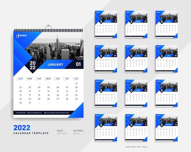 2022 cartel de pared calendario diseño vector premium