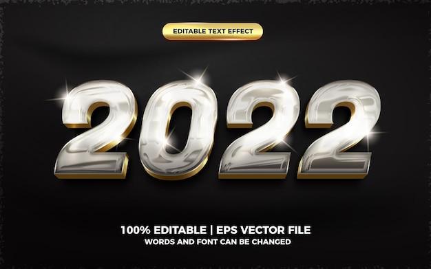 2022 efecto de texto editable 3d brillante de cristal plateado dorado brillante