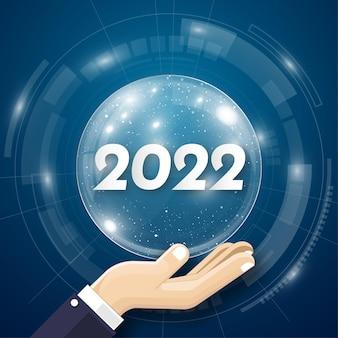 2022 feliz año nuevo. números 3d estilo abstracto digital. números lineales vectoriales. diseño de tarjetas de felicitación. ilustración vectorial. vector libre