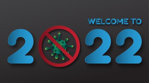 2022 feliz año nuevo. números 3d final de la pandemia de covid-19. números lineales vectoriales. diseño de tarjetas de felicitación. ilustración vectorial. vector libre.