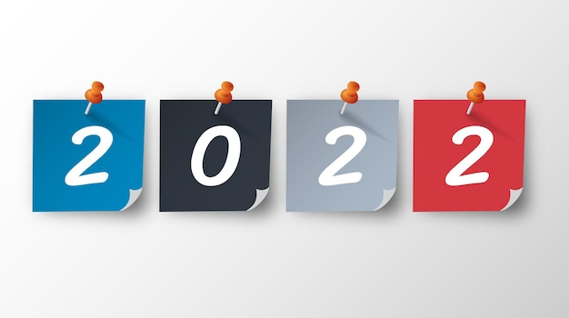 2022 feliz año nuevo. números de estilo 3d. números lineales vectoriales. diseño de tarjetas de felicitación. ilustración vectorial. vector libre.