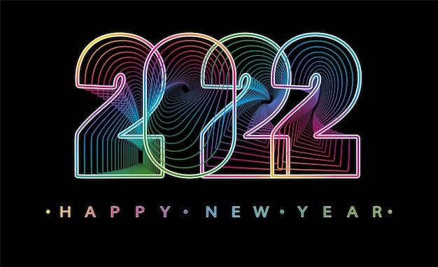 2022 feliz año nuevo. números de estilo minimalista. números lineales vectoriales. diseño de tarjeta de felicitación. ilustración vectorial. Vector Premium