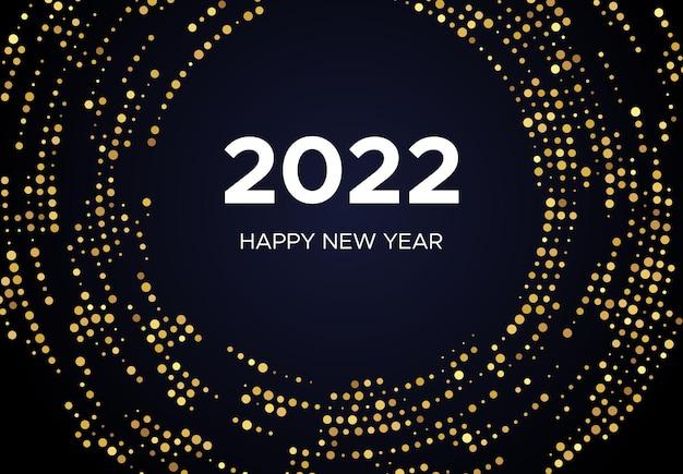 2022 feliz año nuevo de patrón de brillo dorado en forma de círculo. fondo punteado de semitono brillante de oro abstracto para la tarjeta de felicitación de vacaciones de navidad sobre fondo oscuro. ilustración vectorial