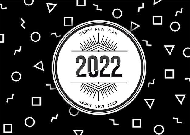 2022 feliz año nuevo temporadas plantilla de saludos diseño de formas geométricas coloridas