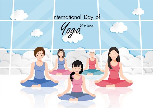 21 de junio día internacional de yoga con personaje de dibujos animados femenino practicando yoga diseño plano ilustración