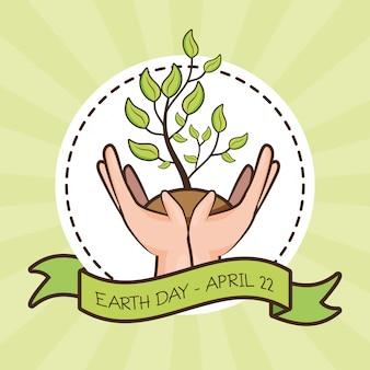 22 de abril día de la tierra, manos con planta, ilustración