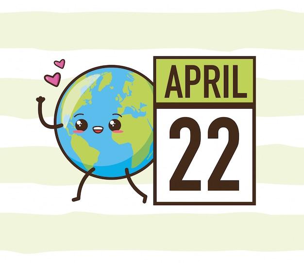 22 de abril día de la tierra, planeta kawaii, ilustración