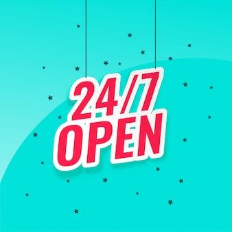 24/7 letrero abierto