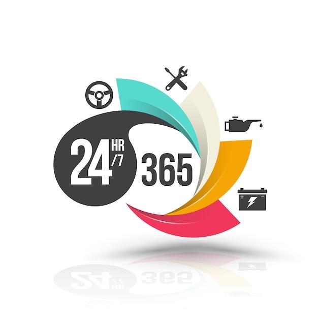 24 horas 7 y 365 días con iconos para banner de servicios.