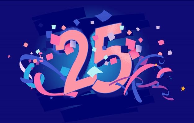 25 aniversario, tarjeta de felicitación de cumpleaños