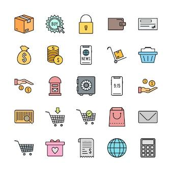 25 conjunto de iconos de comercio electrónico aislado