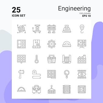25 conjunto de iconos de ingeniería icono de línea de ideas de concepto de logotipo de empresa