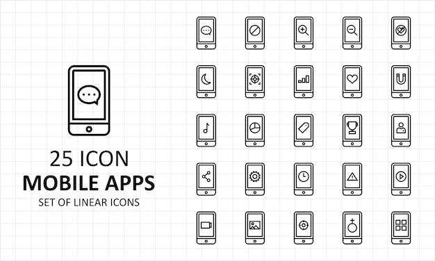 25 hoja de iconos de aplicaciones móviles lineales