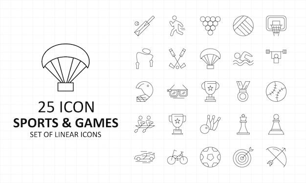 25 hoja de iconos de deportes y juegos pixel perfect icons