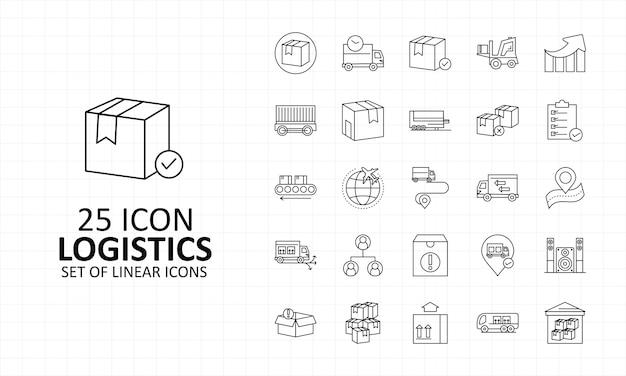 25 hoja de iconos de logística pixel perfect icons
