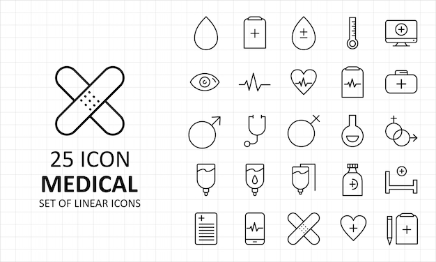 25 iconos perfectos de hoja de icono médico