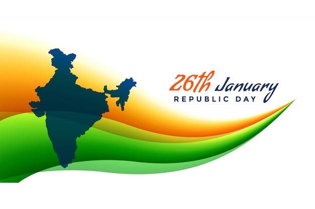 26 de enero bandera del día de la república con el mapa de la india