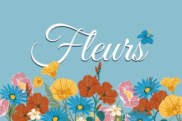 2d fondo de flores vintage y letras