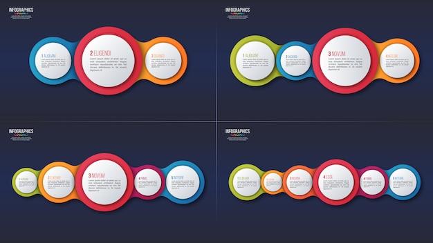 3 4 5 6 opciones diseños infográficos, plantilla de presentación