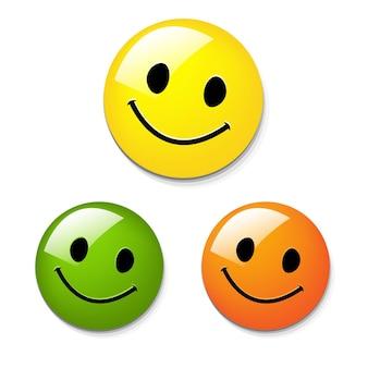3 botones sonrientes