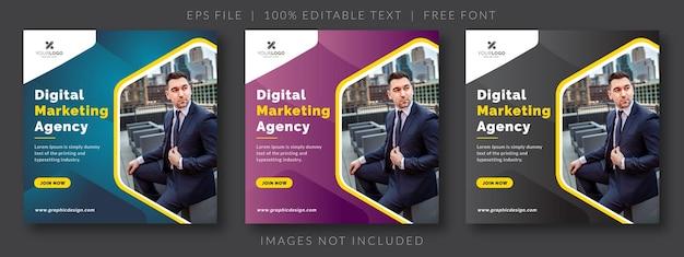 3 conjunto de banner web de publicación de redes sociales de marketing empresarial digital azul púrpura y negro