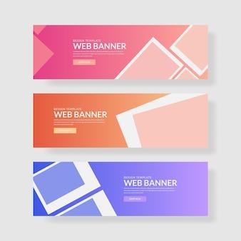 3 establecer bandera ui de color pastel. composición de forma cuadrada