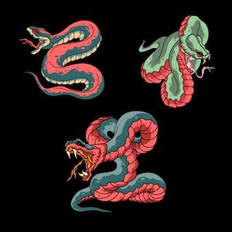 3 ilustración de serpiente vintage