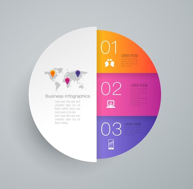 3 pasos elementos de infografía empresarial para la presentación