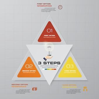 3 pasos modernos elementos de gráfico de infografía.