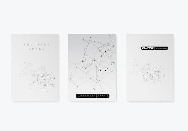 3 plantillas de portada para folleto en tamaño a4 fondo geométrico moderno con líneas y puntos conectados