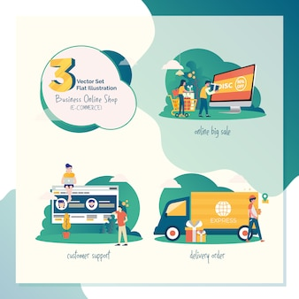 3 vector set ilustración plana para marketing o comercio electrónico