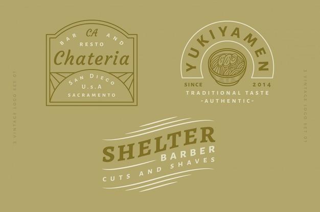 3 vintage logo set vol 03 - chateria bar y resto logo - yukiyamen traditional taste authentic logo - shelter barber cuts and shaves logo texto, color y contorno totalmente editables