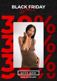 Hasta 30% plantilla de venta de black friday con plantilla de diseño estético