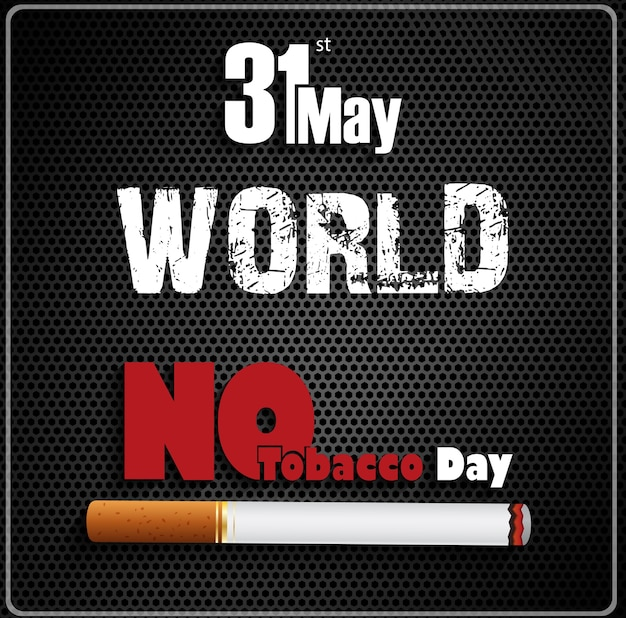 31 de mayo mundial sin día del tabaco en fondo negro