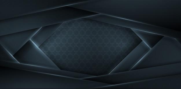 3d abstracto con capas de papel negro. ilustración geométrica elemento. decoración elegante