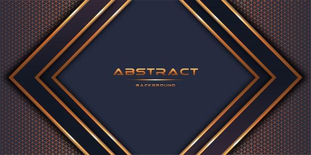 3d abstracto con capas de papel de oro diseño de plantilla de fondo