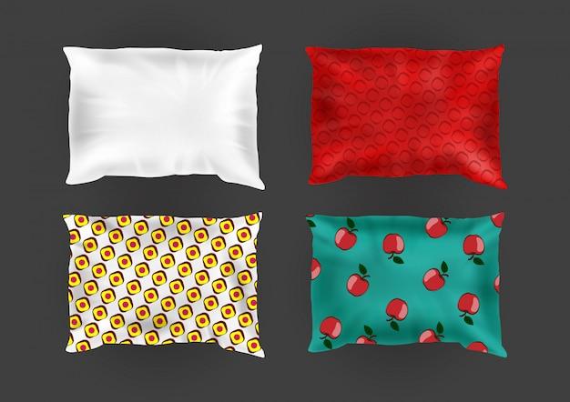 3d almohadas cuadradas confortables realistas en fundas de almohadas brillantes, diferentes patrones en seda