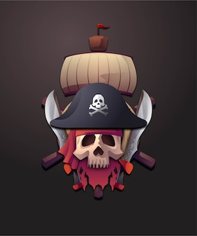 3d badge pirates illustration set