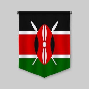 3d banderín realista con la bandera de kenia