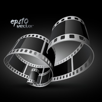 3d carrete de película curvada realista