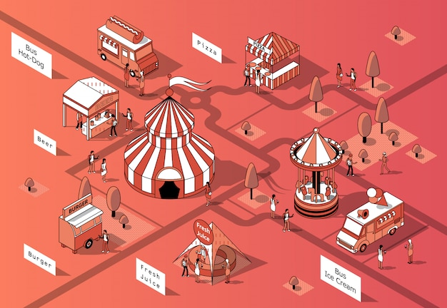 3d comedores de alimentos isométricos, festival - mercado