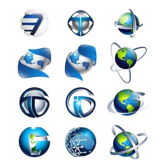 3d conjunto abstracto redondo brillante logotipo esferas diversas