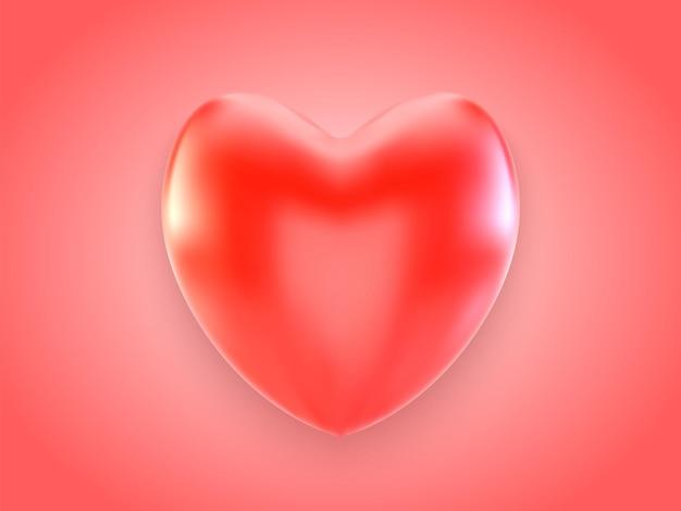 3d corazón rojo con sombra aislado sobre fondo rojo.