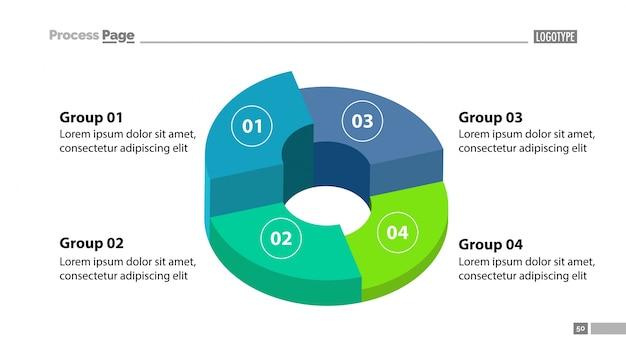 3d donut gráfico con cuatro grupos de plantilla
