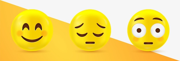 3d emoji face emoticonos felices y tristes con flushed face